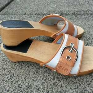 Coach White Twill Leather Wood Clogs/ Sand…